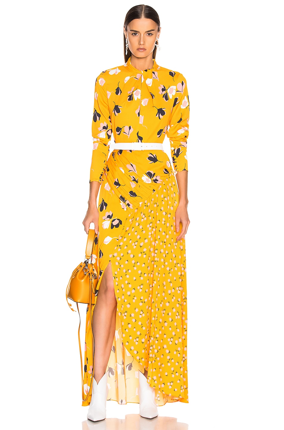 Image 1 of self-portrait Floral Twist Neck Maxi Dress in Yellow