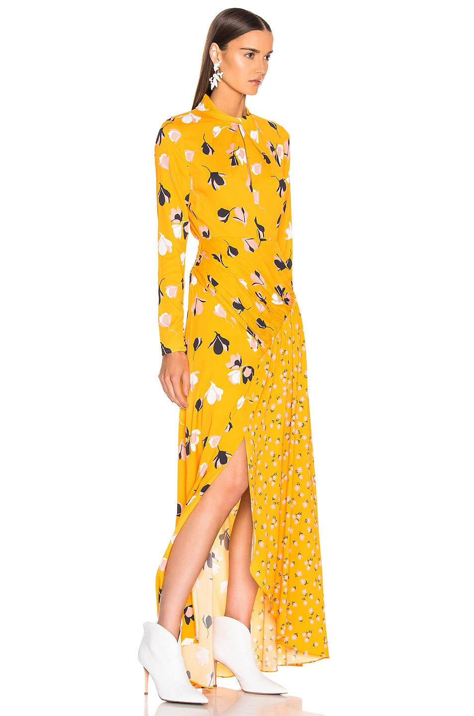 Image 2 of self-portrait Floral Twist Neck Maxi Dress in Yellow
