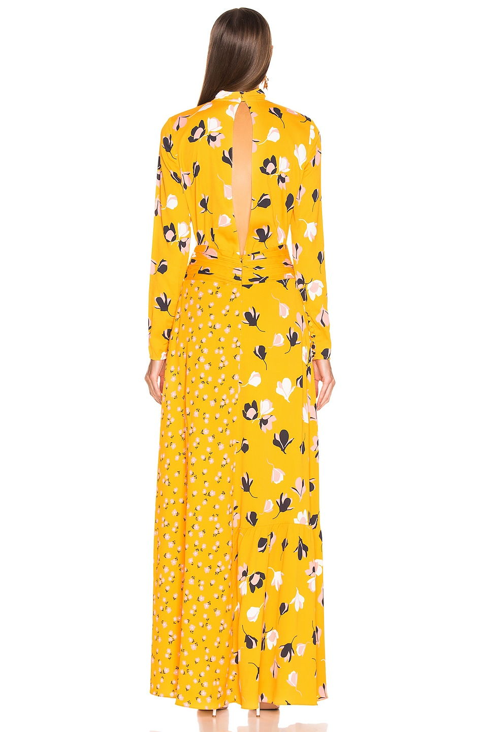 Image 4 of self-portrait Floral Twist Neck Maxi Dress in Yellow