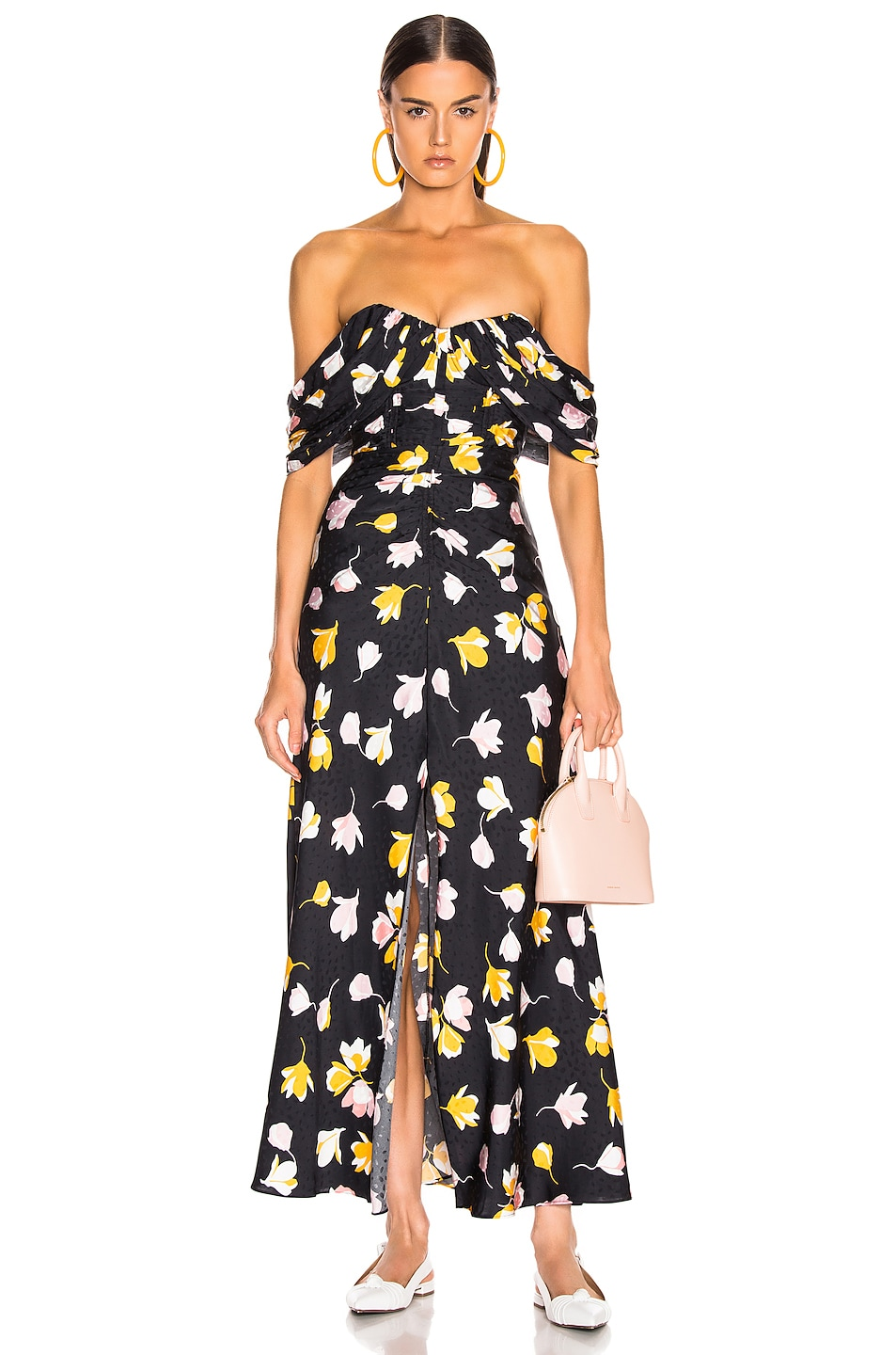 Image 1 of self-portrait Floral Printed Dress in Black