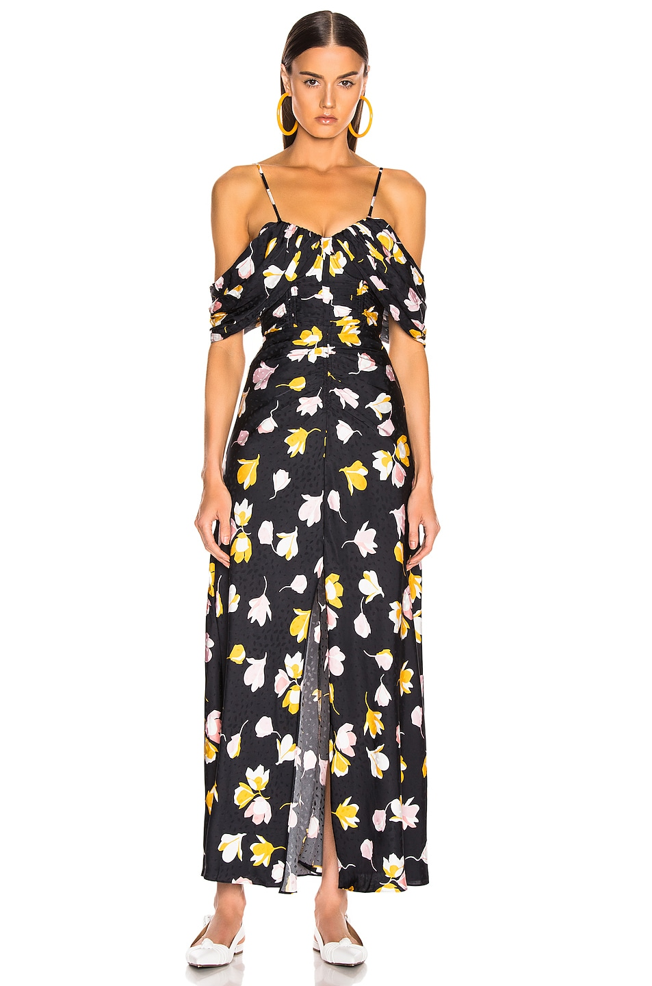 Image 2 of self-portrait Floral Printed Dress in Black