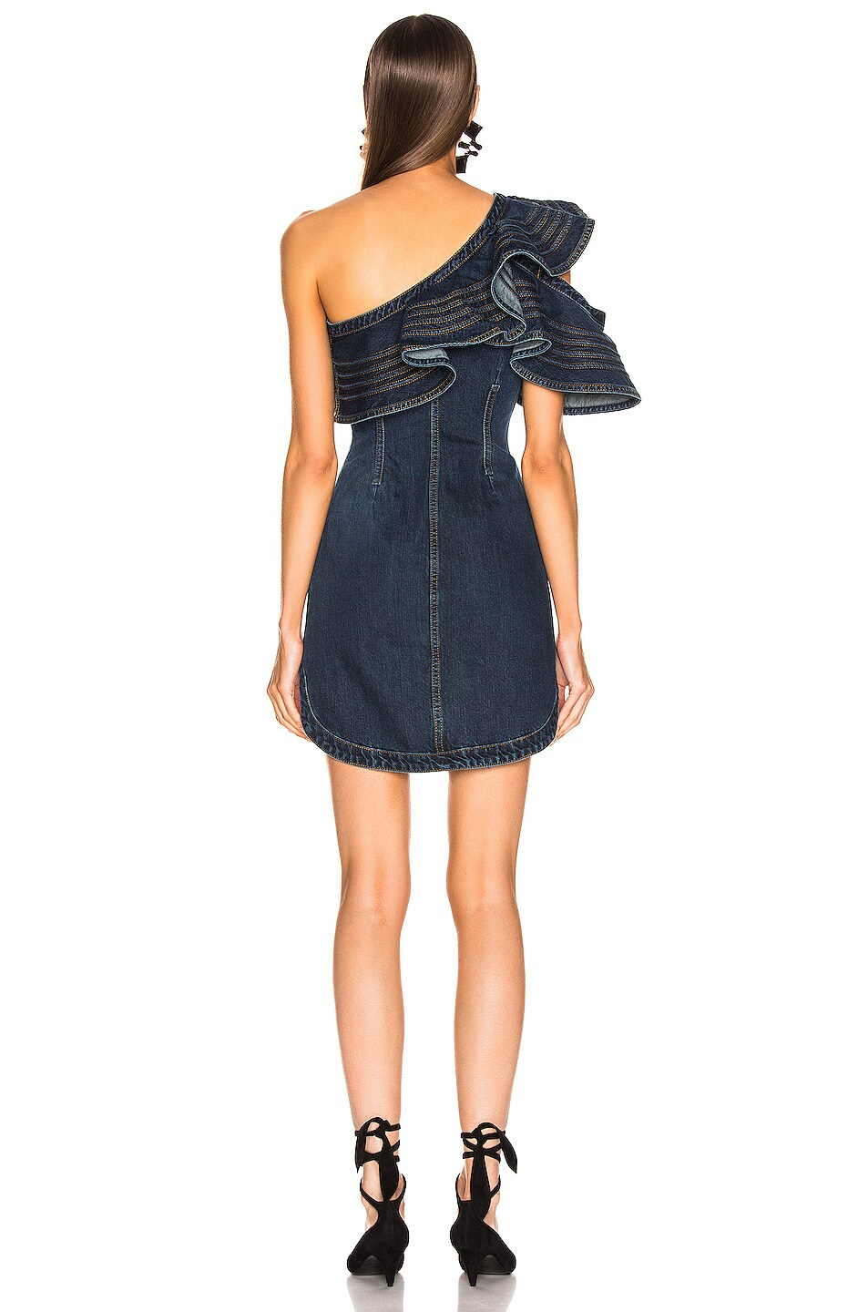 Image 4 of self-portrait x Lee Frill Mini Dress in Dark Blue