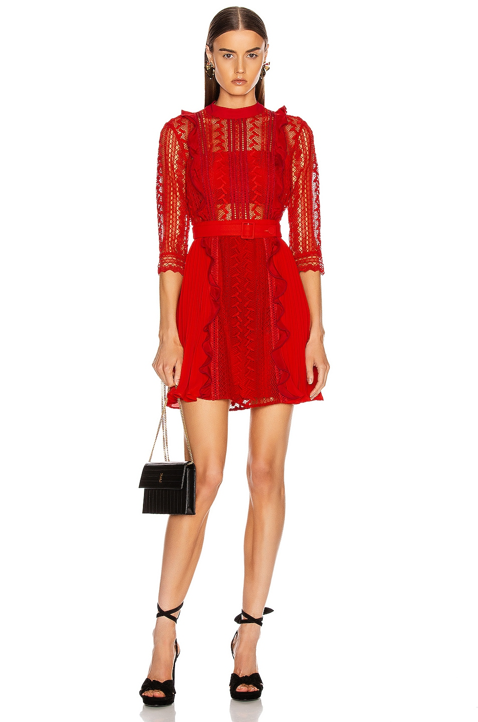 Image 1 of self-portrait Geometric Lace Dress in Red