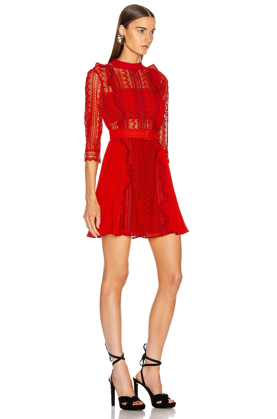 Image 2 of self-portrait Geometric Lace Dress in Red