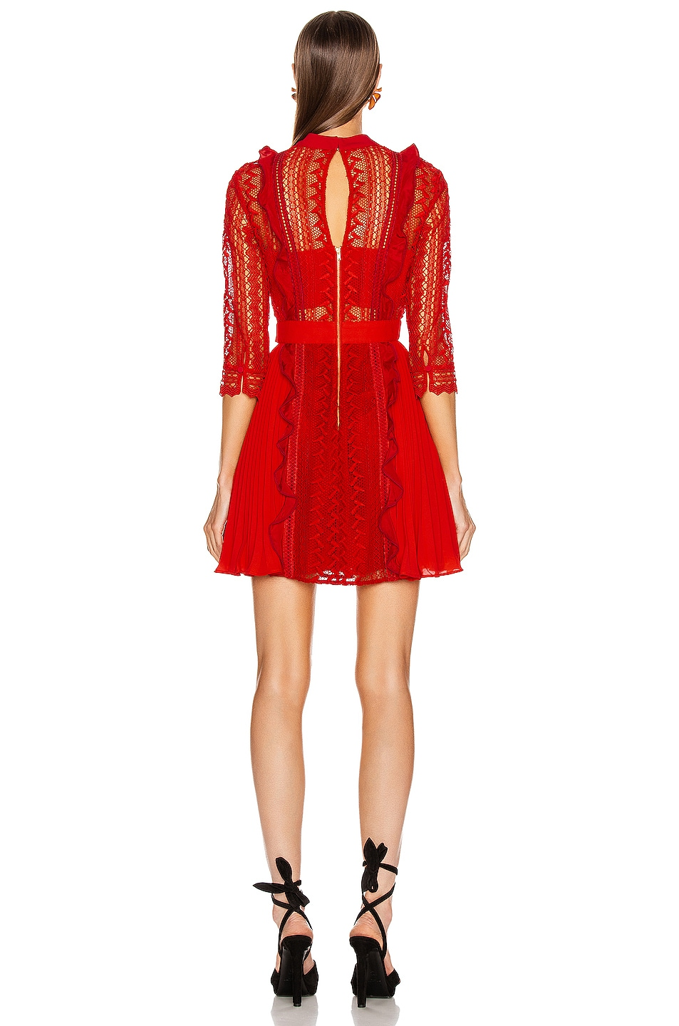 Image 3 of self-portrait Geometric Lace Dress in Red