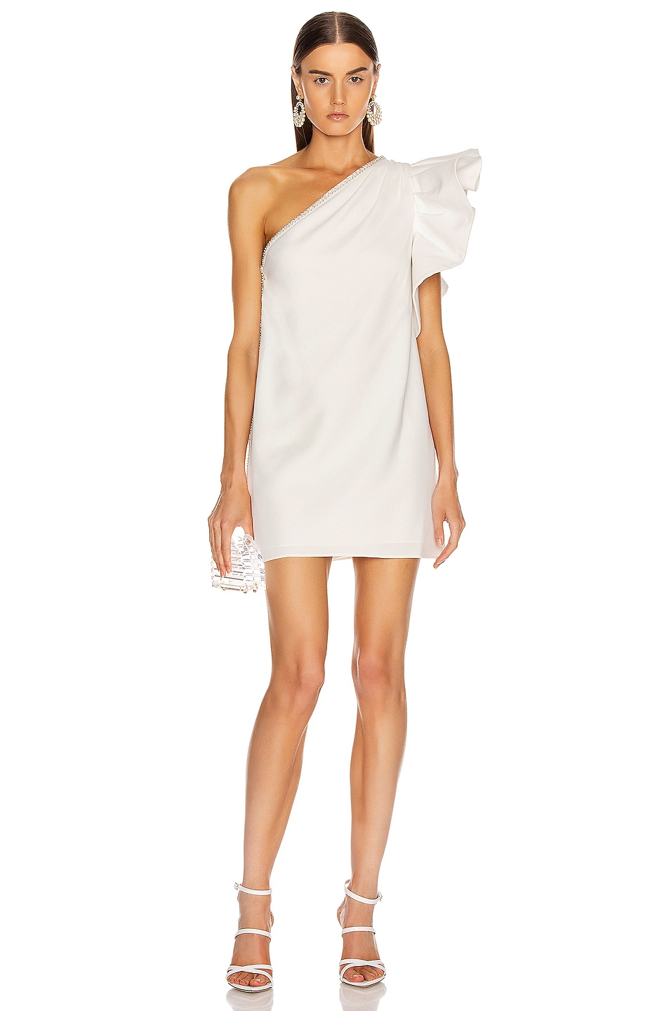 Image 1 of self-portrait One Shoulder Ruffle Dress in Ivory