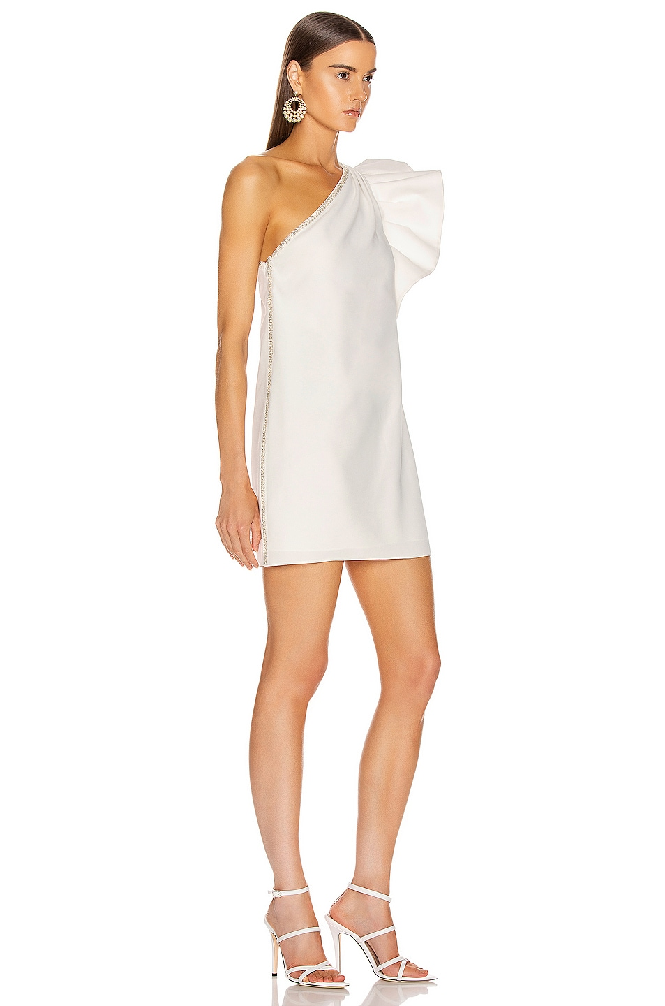 Image 2 of self-portrait One Shoulder Ruffle Dress in Ivory