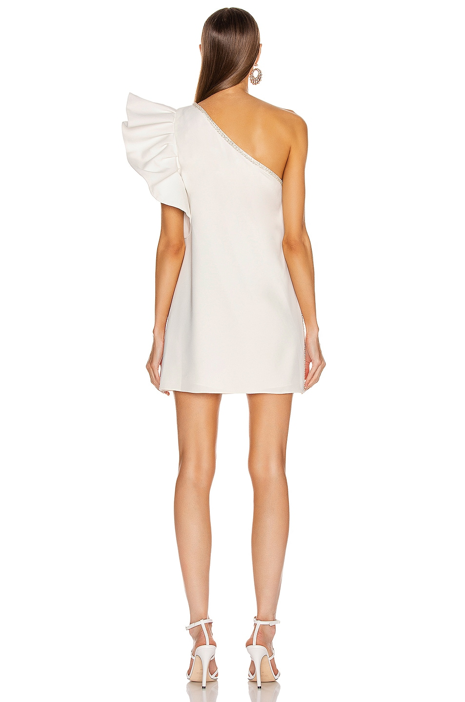 Image 4 of self-portrait One Shoulder Ruffle Dress in Ivory