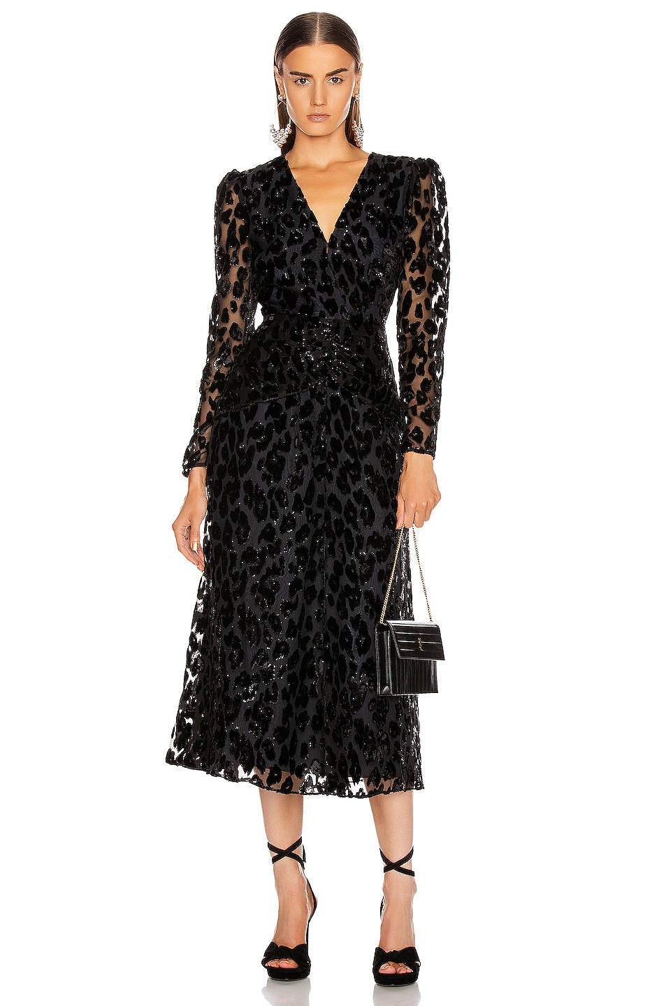 Image 1 of self-portrait Metallic Leopard Midi Dress in Black & Navy