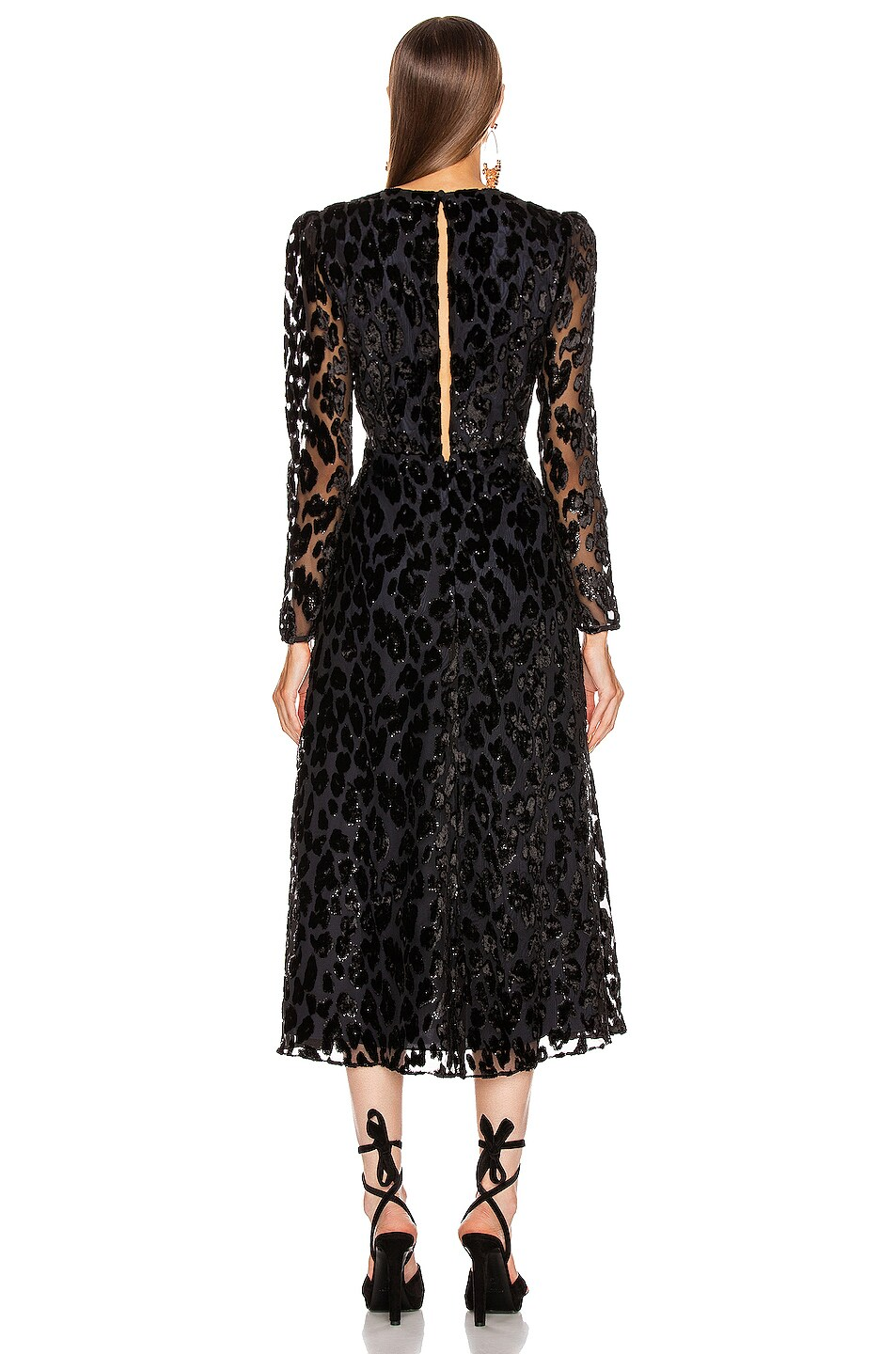 Image 3 of self-portrait Metallic Leopard Midi Dress in Black & Navy