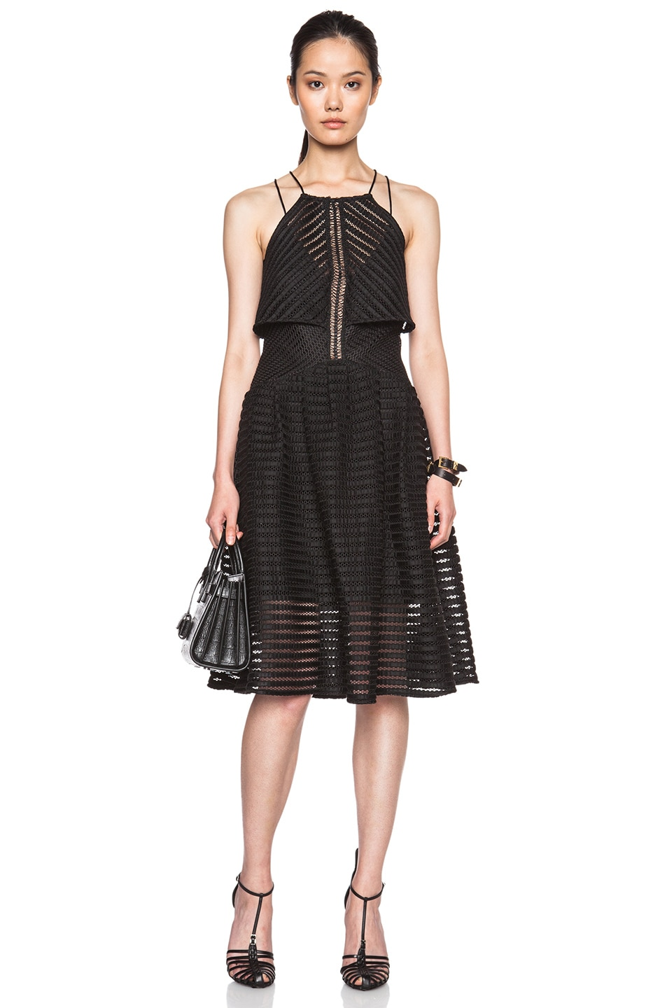 Image 1 of self-portrait Cropped Overlay Dress in Black