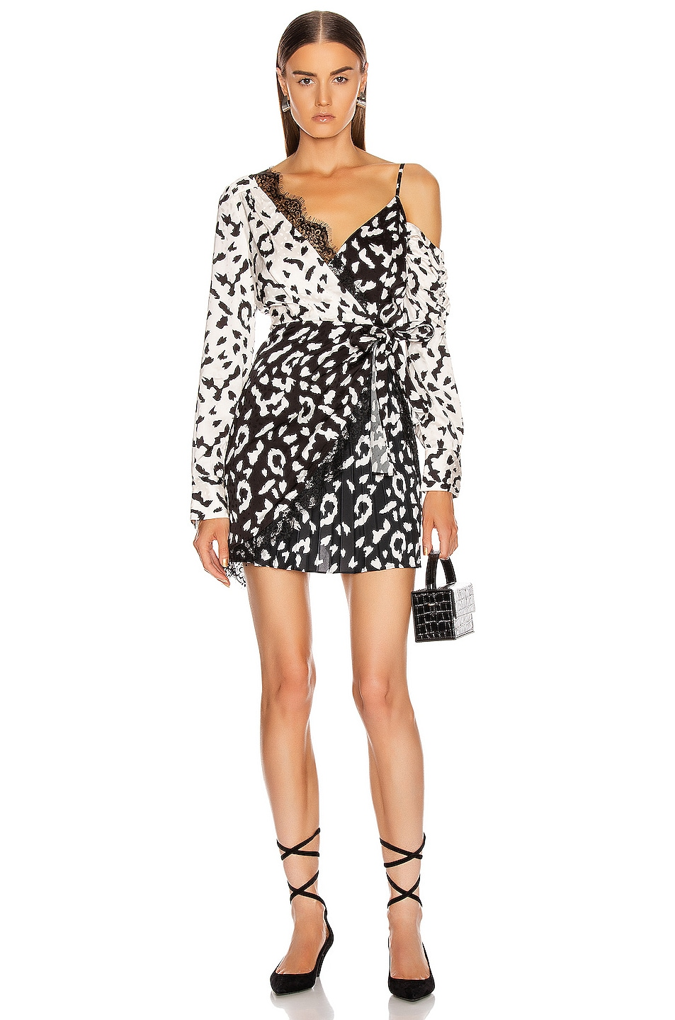 Image 1 of self-portrait Leopard Printed Wrap Dress in Cream & Black