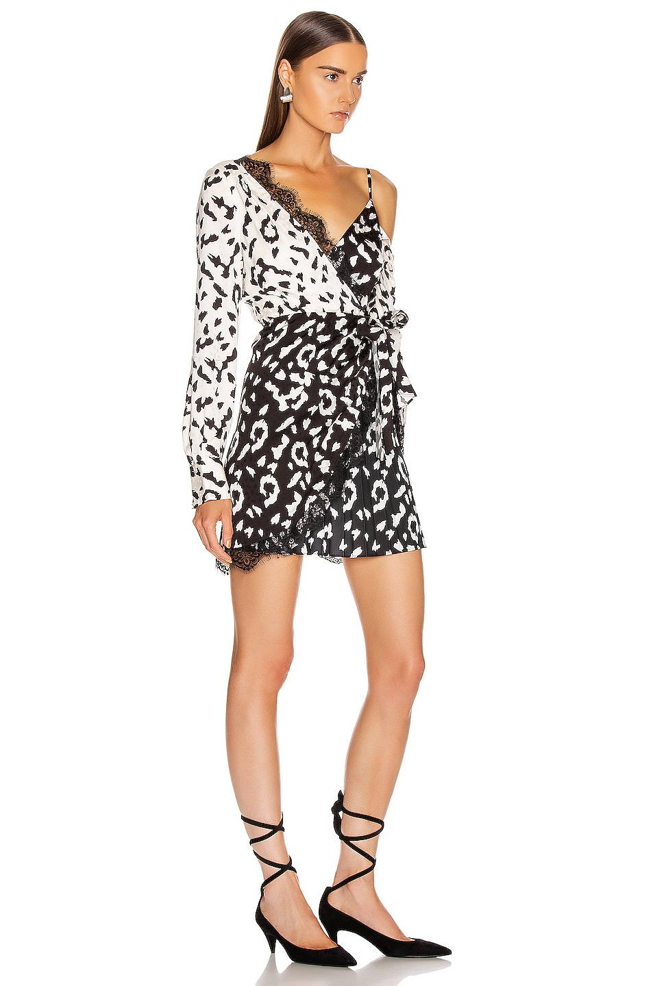 Image 2 of self-portrait Leopard Printed Wrap Dress in Cream & Black