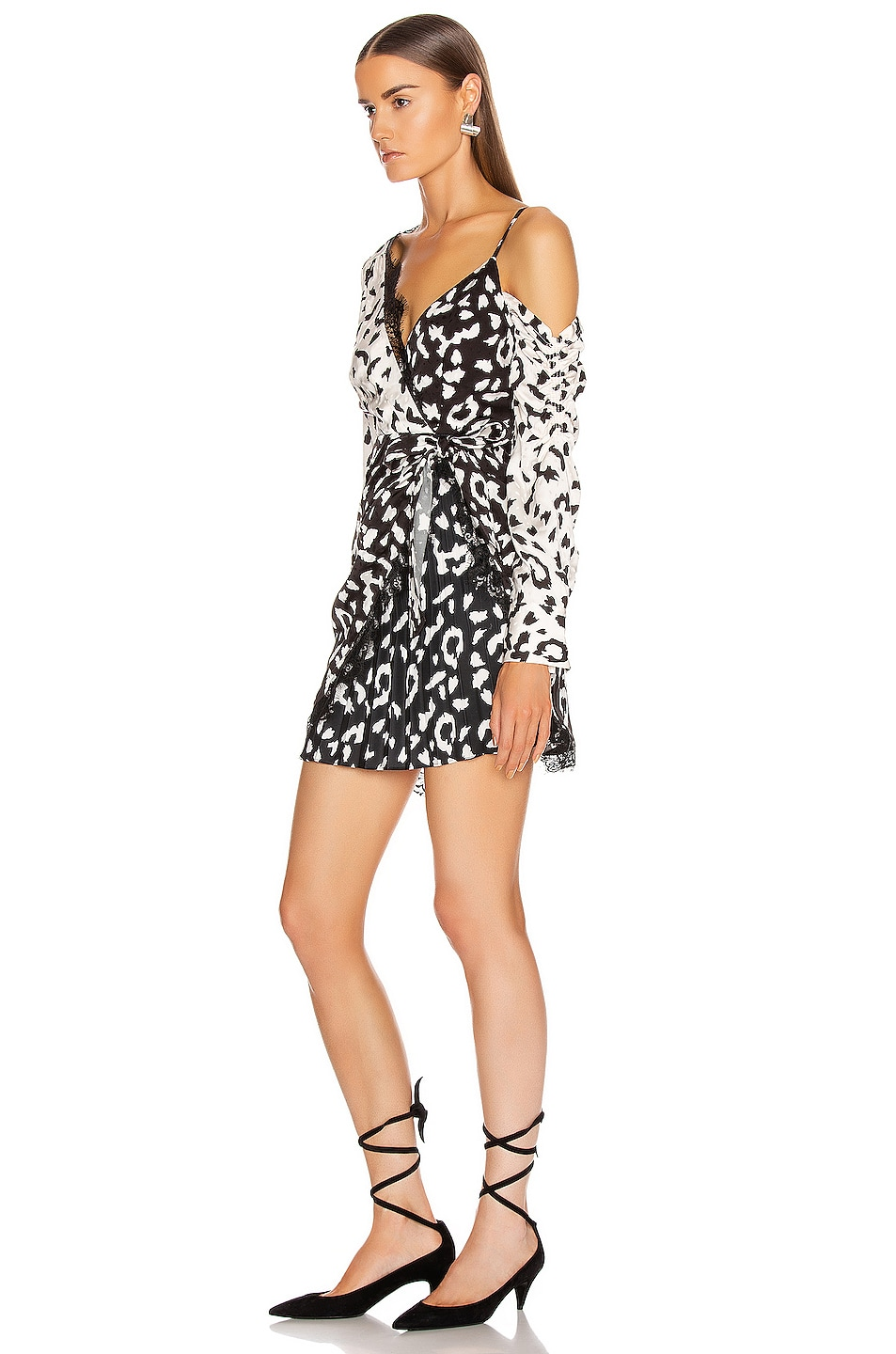 Image 3 of self-portrait Leopard Printed Wrap Dress in Cream & Black