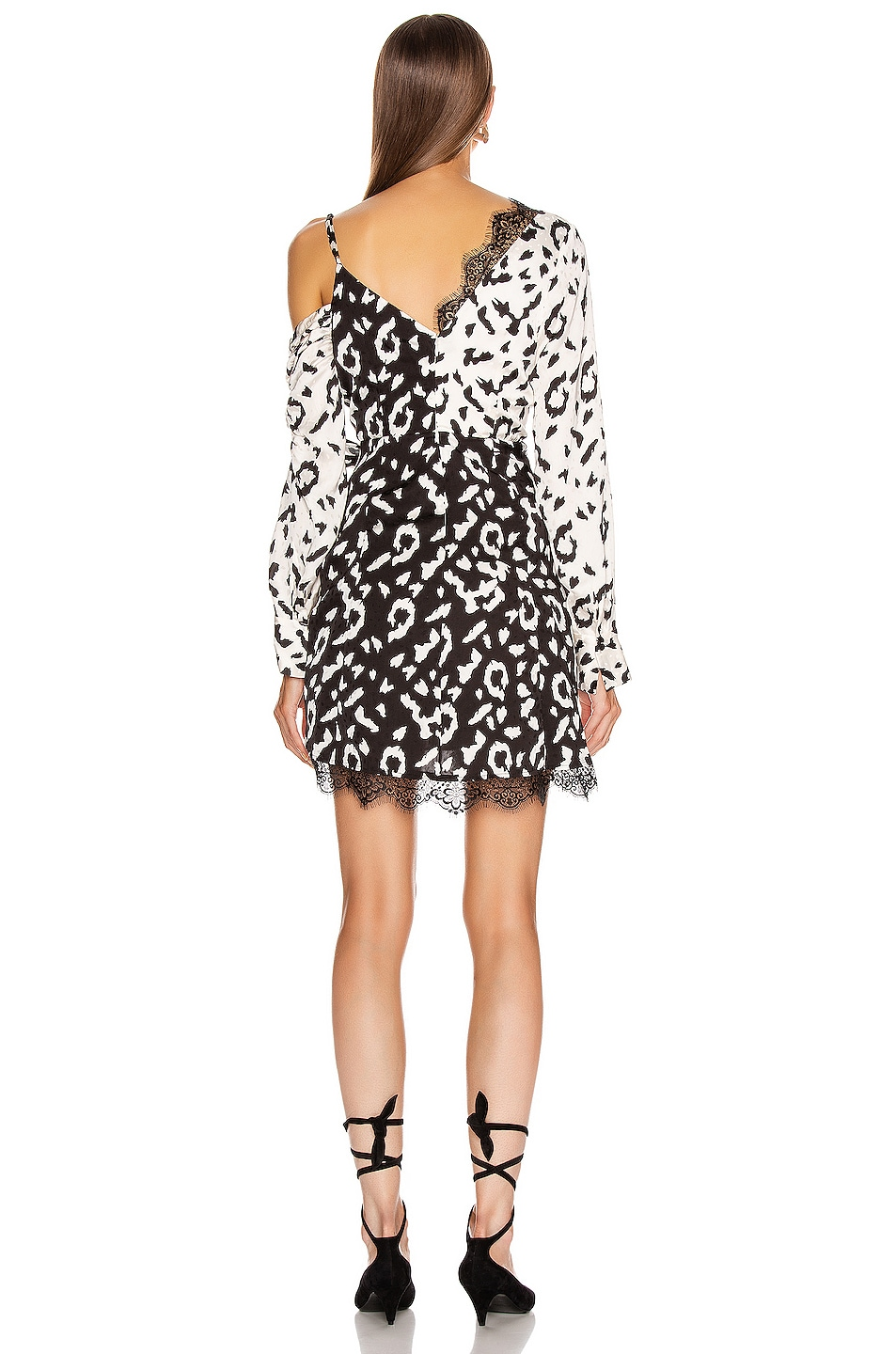 Image 4 of self-portrait Leopard Printed Wrap Dress in Cream & Black