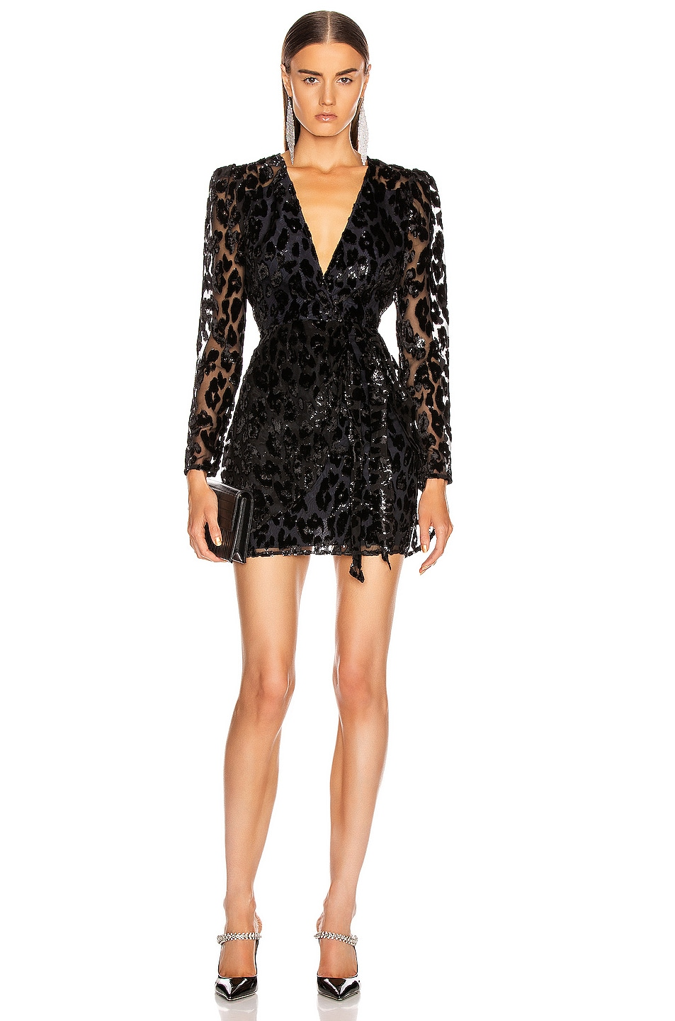 Image 1 of self-portrait Metallic Leopard Mini Dress in Black & Navy
