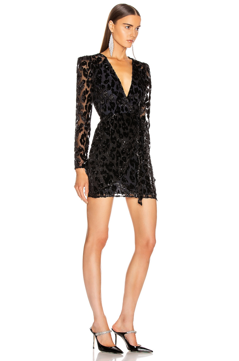 Image 2 of self-portrait Metallic Leopard Mini Dress in Black & Navy