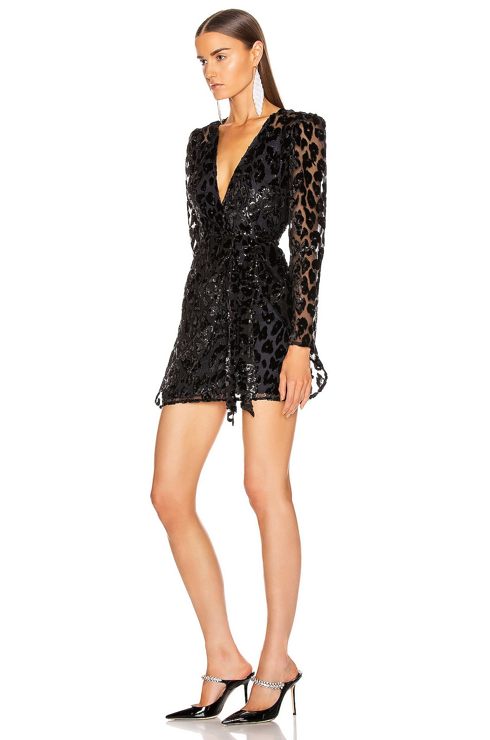 Image 3 of self-portrait Metallic Leopard Mini Dress in Black & Navy