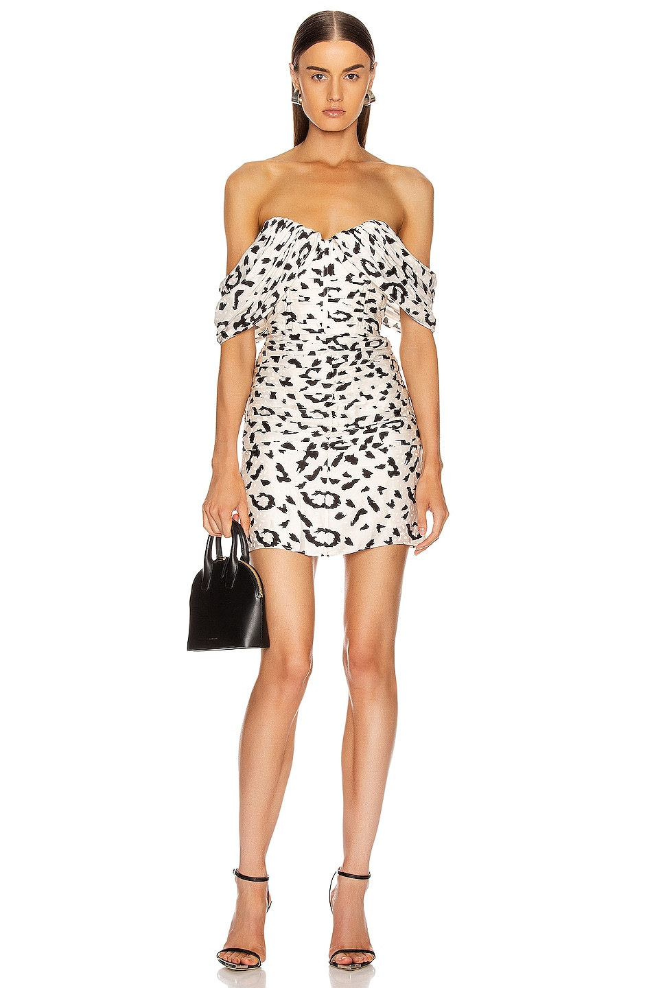 Image 1 of self-portrait Off Shoulder Leopard Dress in Cream & Black