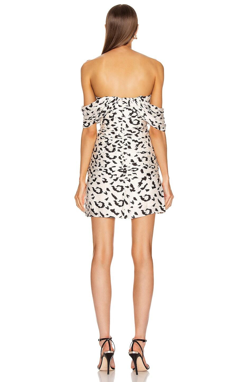 Image 3 of self-portrait Off Shoulder Leopard Dress in Cream & Black