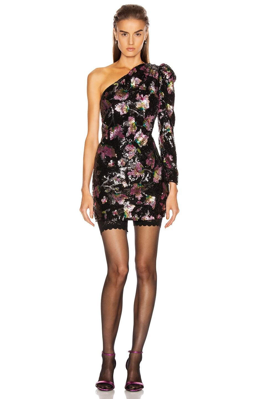 Image 1 of self-portrait One Shoulder Sequin Mini Dress in Midnight Bloom Sequin