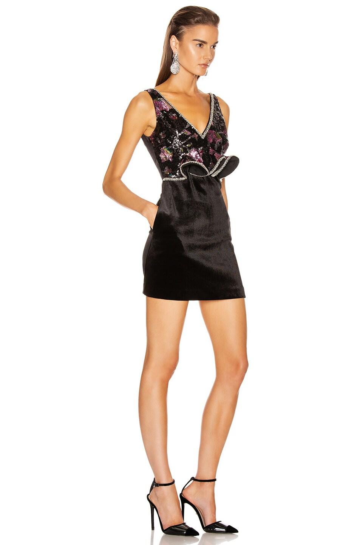 Image 2 of self-portrait Sequin Mini Dress in Midnight Bloom Sequin