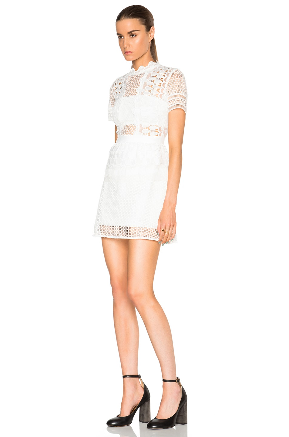 Image 2 of self-portrait Structured Teardrop Peplum Dress in Off White