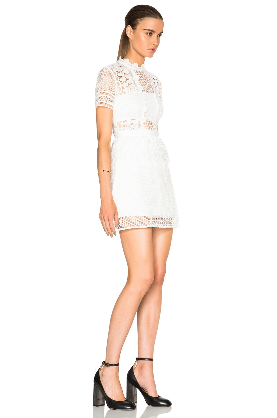 Image 3 of self-portrait Structured Teardrop Peplum Dress in Off White