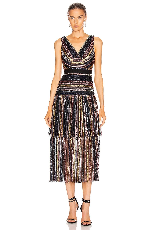 Image 1 of self-portrait Stripe Sequin Midi Dress in Multi