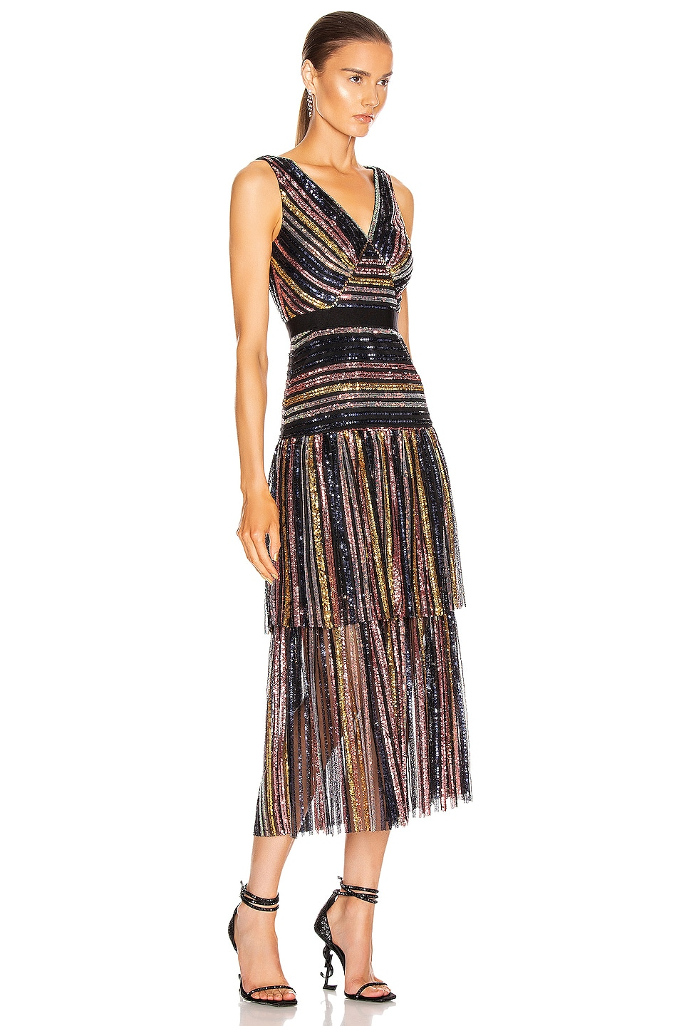 Image 2 of self-portrait Stripe Sequin Midi Dress in Multi