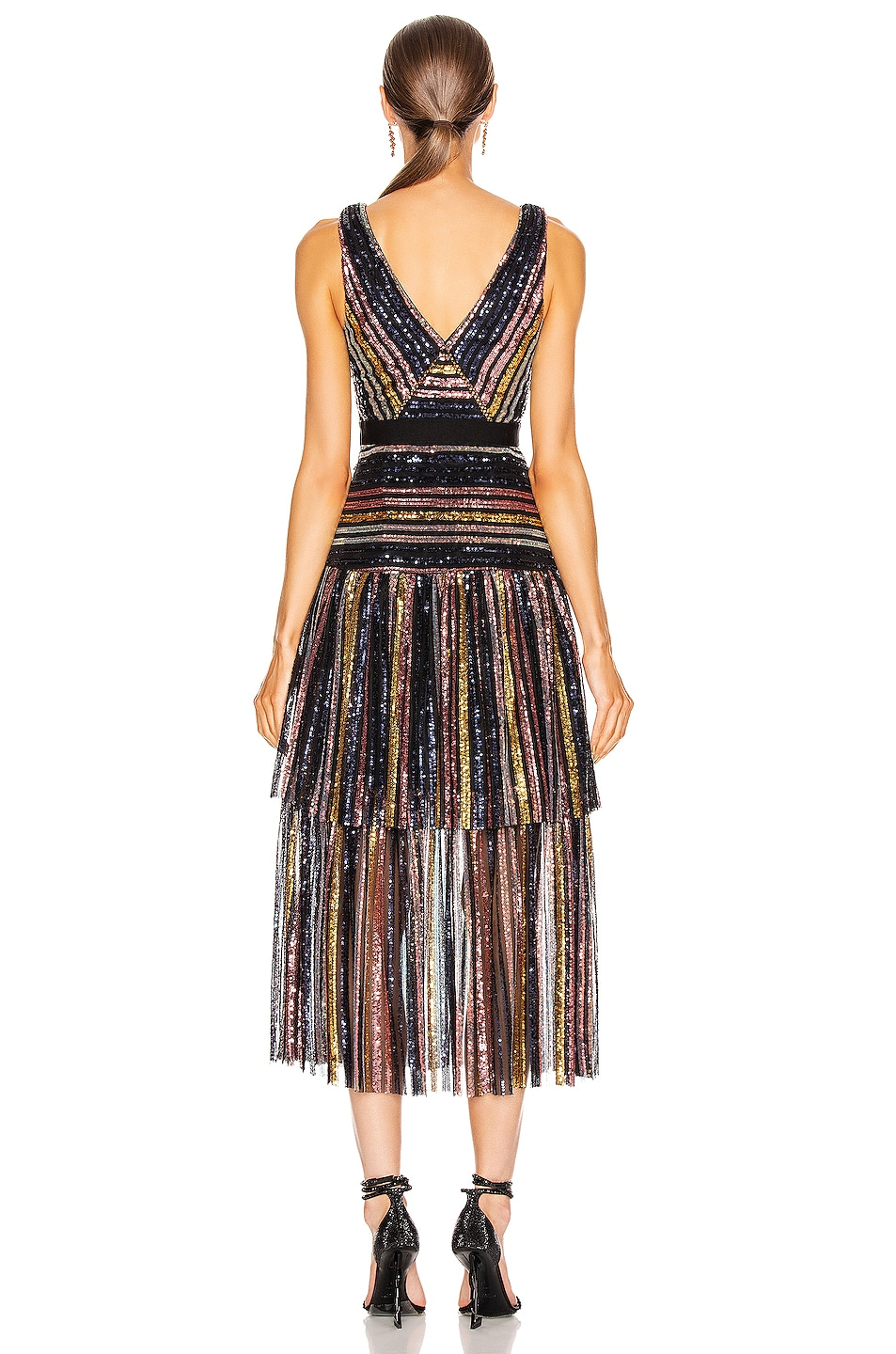 Image 3 of self-portrait Stripe Sequin Midi Dress in Multi