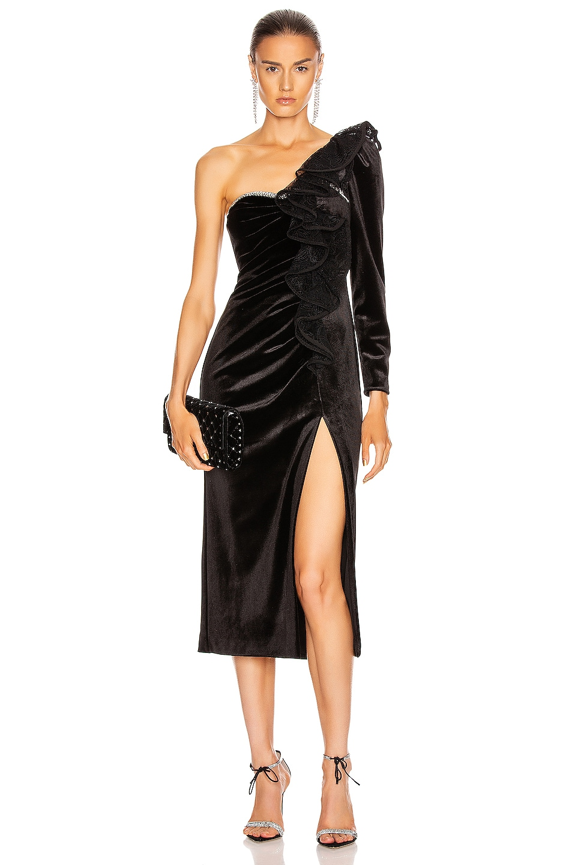 Image 1 of self-portrait Velvet Ruffle Midi Dress in Black