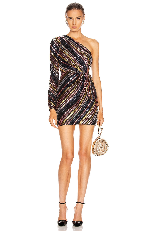 Image 1 of self-portrait Stripe Sequin Mini Dress in Multi