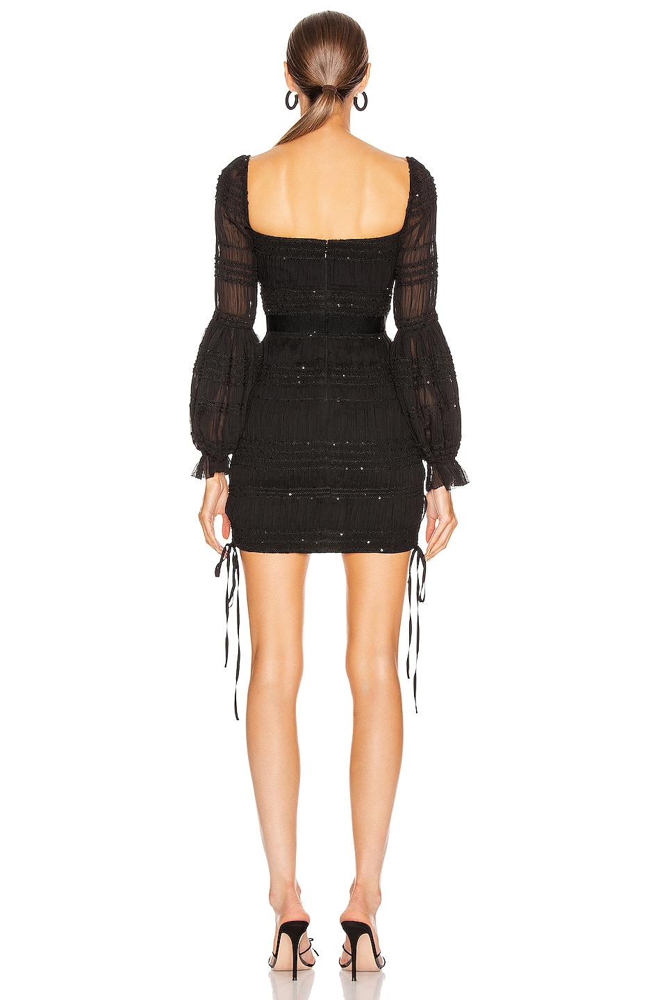 Image 3 of self-portrait Shirred Chiffon Mini Dress in Black
