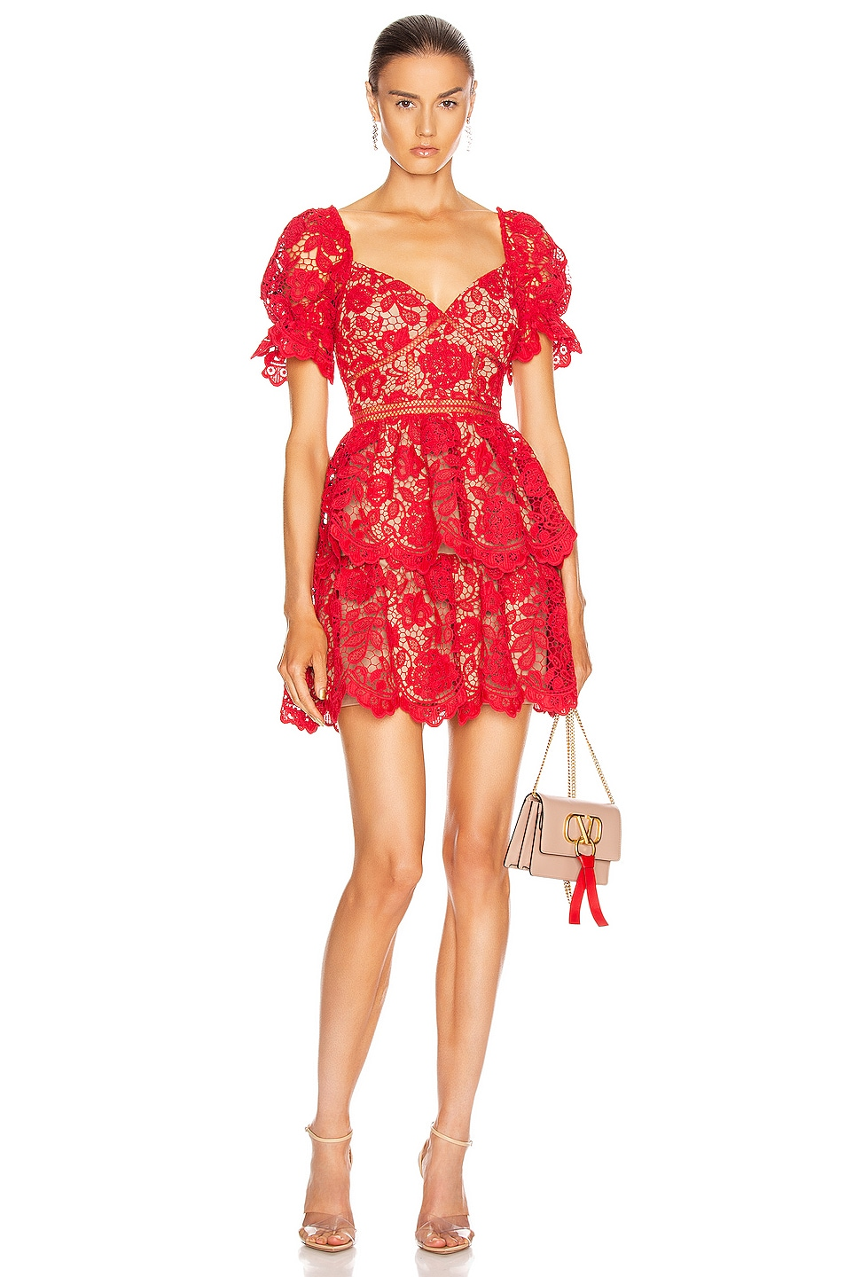 Image 1 of self-portrait Flower Lace Mini Dress in Fuchsia