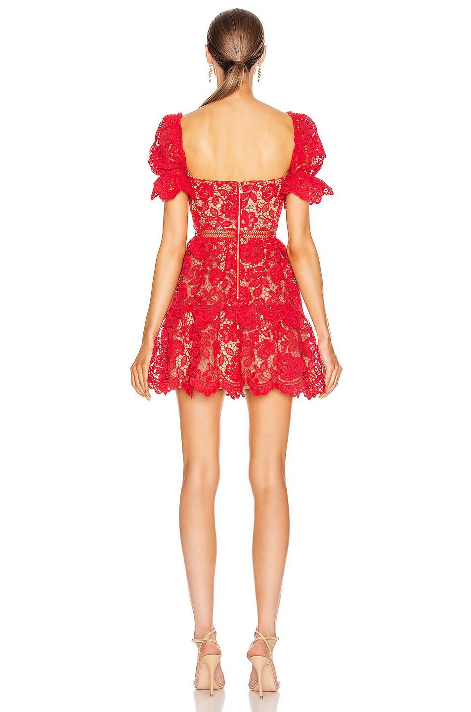 Image 3 of self-portrait Flower Lace Mini Dress in Fuchsia