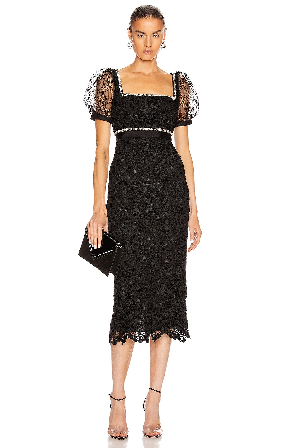 Image 1 of self-portrait Fine Lace Square Neck Midi Dress in Black