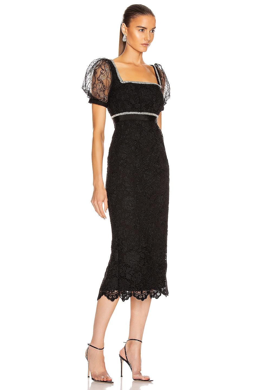 Image 2 of self-portrait Fine Lace Square Neck Midi Dress in Black