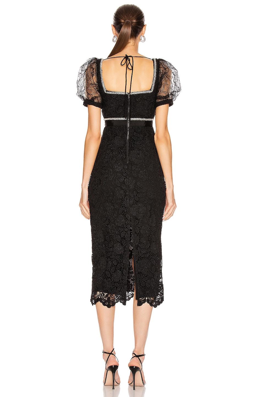 Image 3 of self-portrait Fine Lace Square Neck Midi Dress in Black