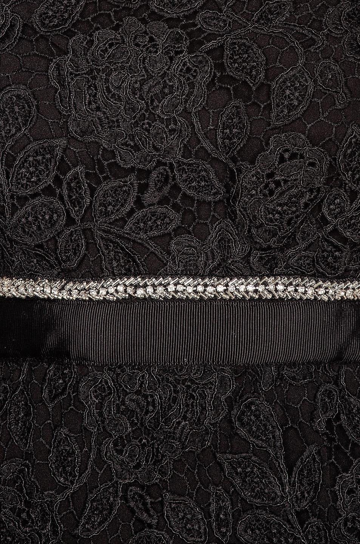 Image 4 of self-portrait Fine Lace Square Neck Midi Dress in Black