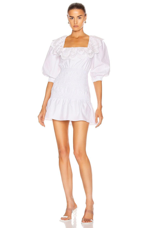 Image 1 of self-portrait Poplin Mini Dress in White