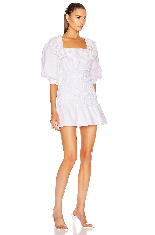 Image 2 of self-portrait Poplin Mini Dress in White