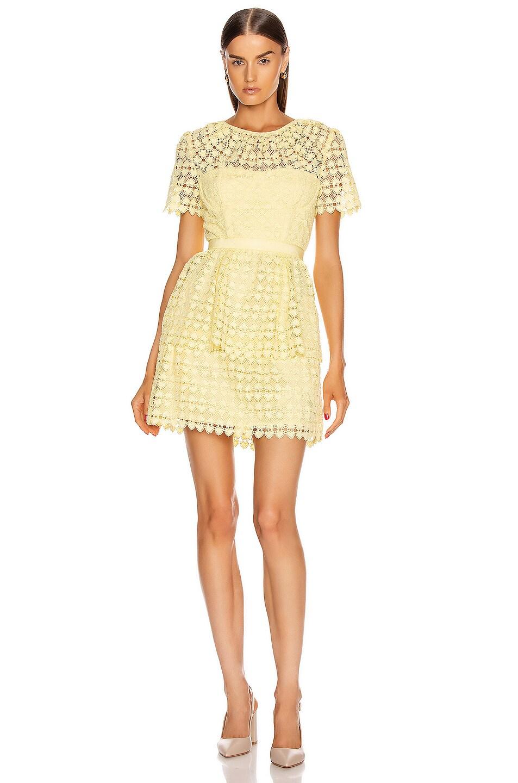 Image 1 of self-portrait Heart Lace Mini Dress in Yellow