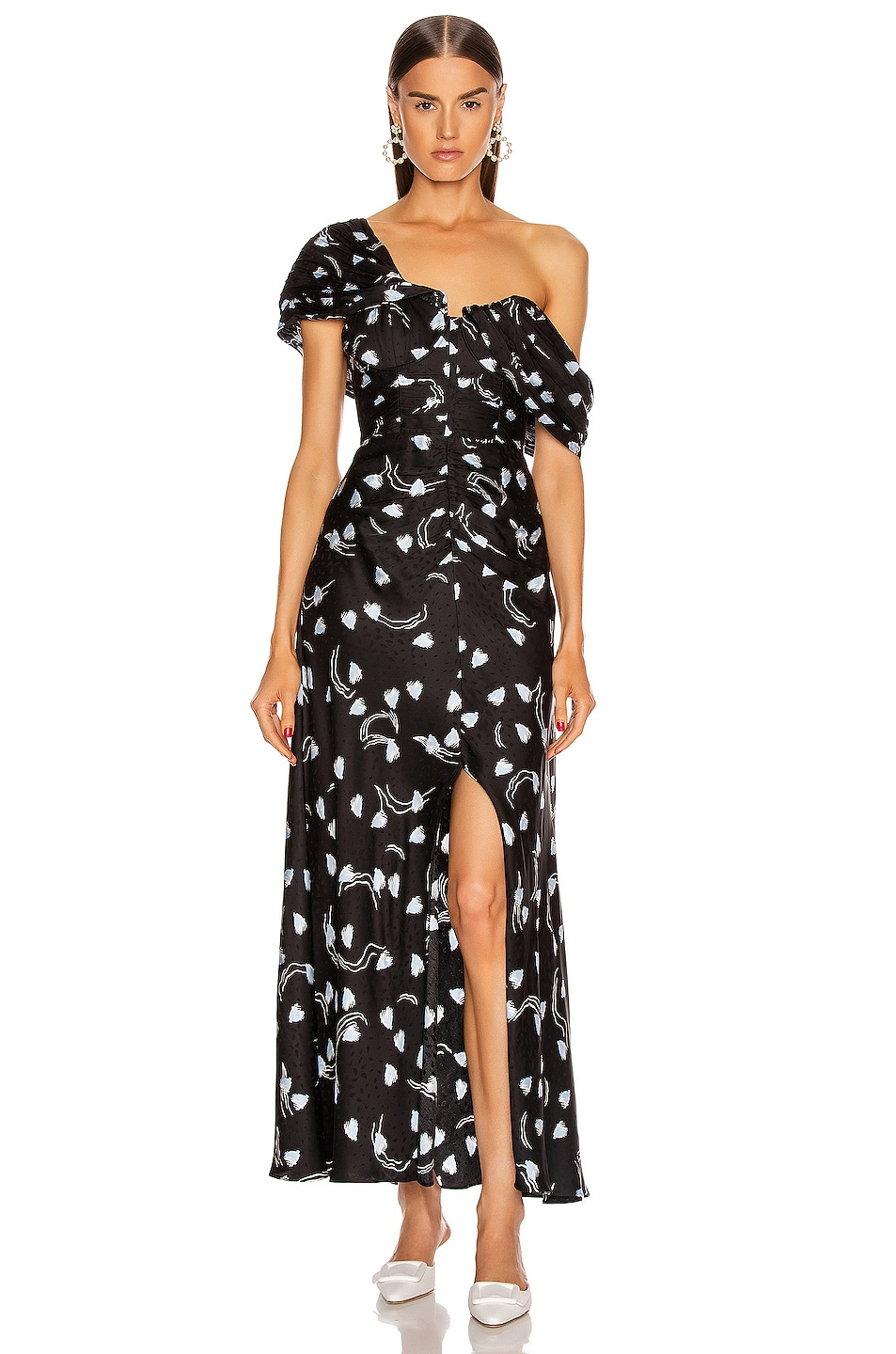 Image 1 of self-portrait Abstract Geo Print Off Shoulder Dress in Multi