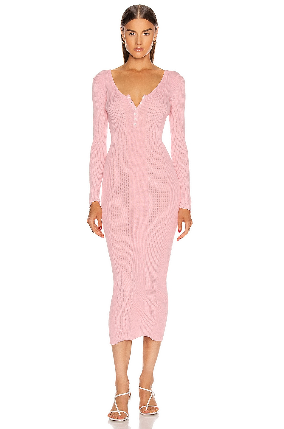 Image 1 of self-portrait Fine Knit Midi Dress in Pink