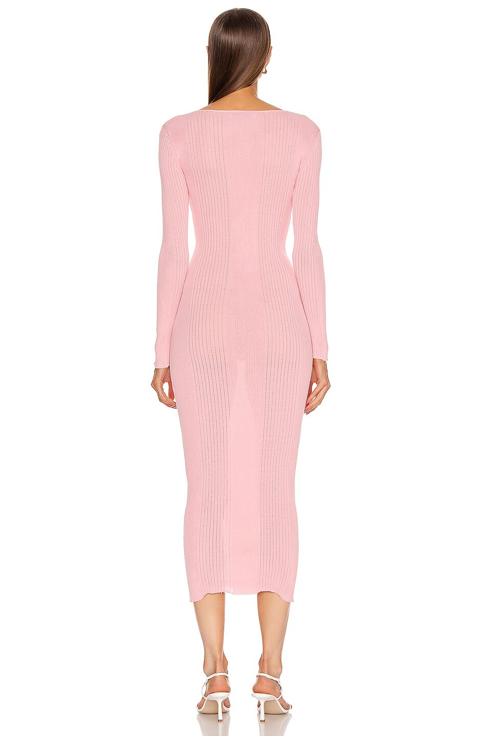 Image 3 of self-portrait Fine Knit Midi Dress in Pink