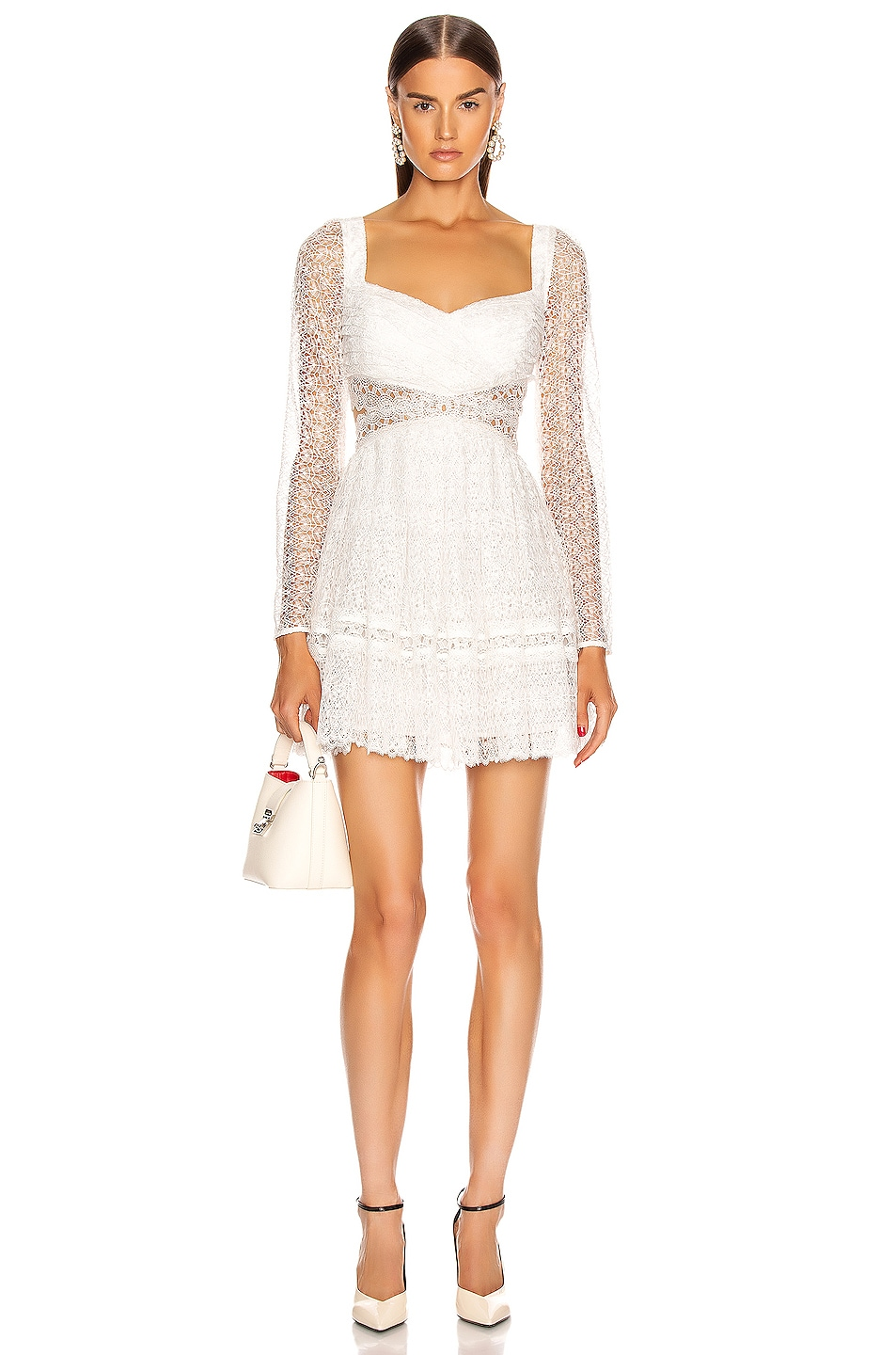 Image 1 of self-portrait Lace Cut Out Mini Dress in White