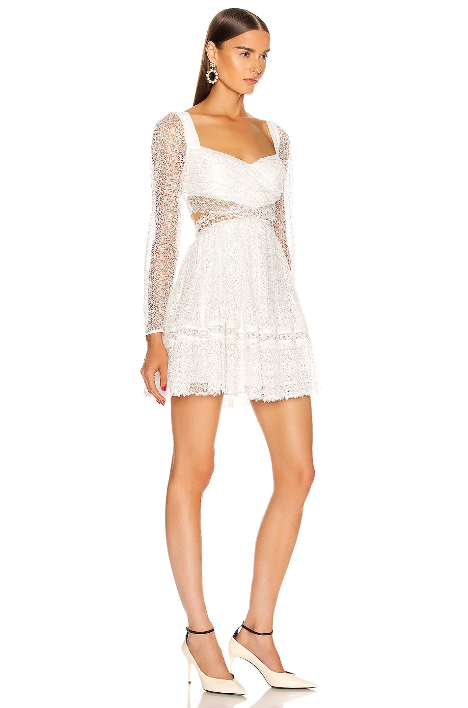 Image 2 of self-portrait Lace Cut Out Mini Dress in White