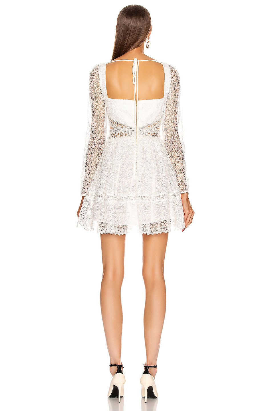 Image 3 of self-portrait Lace Cut Out Mini Dress in White