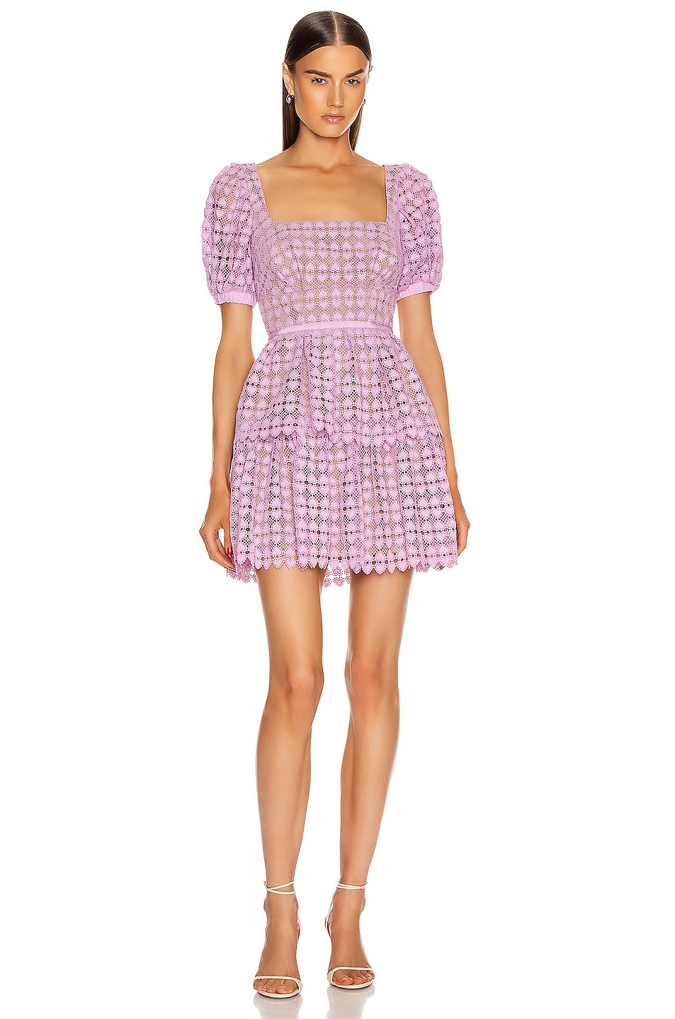 Image 1 of self-portrait Puff Sleeve Heart Lace Mini Dress in Lilac